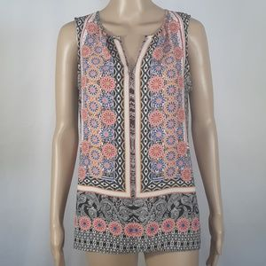 Rose & Olive Sleeveless Print Top